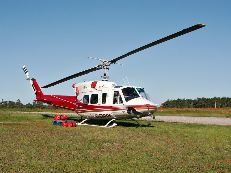 I believe this is a Bell 206L-1. Not sure of the owner or model as I didn't look it up back in 2005 when I took the photo, but the registeration belongs to National Helicopters Inc. as of 2007.<br /> <br /> The photo was taken in 2005 at the Dryden airport.