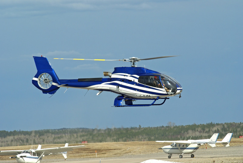 A Eurocopter Model	EC-130 B4 lands at the Dryden airport.