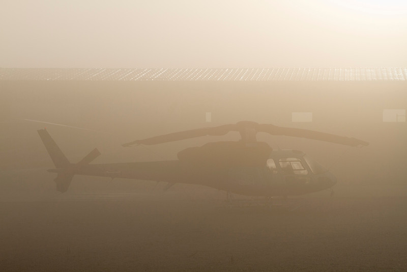 Grounded due to fog.