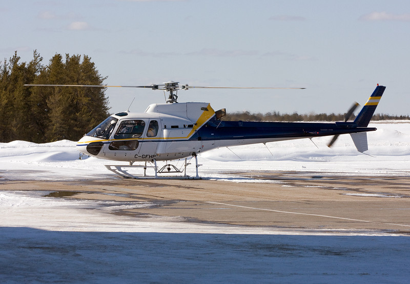 A Aerospatiale AS 350 B-2 stops in at the Dryden airport for fuel, not knowing the FBO closed for the day 90 minutes prior to his landing. <br /> <br /> And a odd thing about the registration though: as read from Transport Canada's web site on the Official Canadian Civil Aircraft Register database: Certificate of Registration:   Cancelled 2008-03-11 (photo taken 2008-03-16)