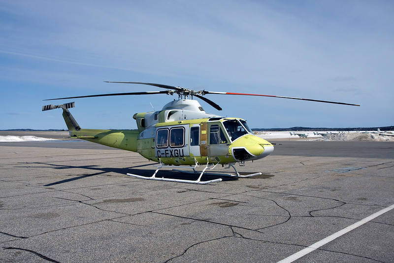 This brand new, fresh off the assembly line Bell 412 (SN# 36514) came to Dryden for fuel on their way west to the Persian Gulf. Apparently 5 more will be following as they are readied.