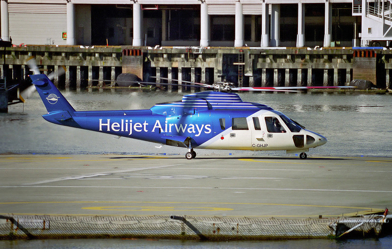 Helijet Airways getting ready to depart a helipad (elevation 2 feet) on Vancouver Harbour, Vancouver, BC in a Sikorsky S-76A