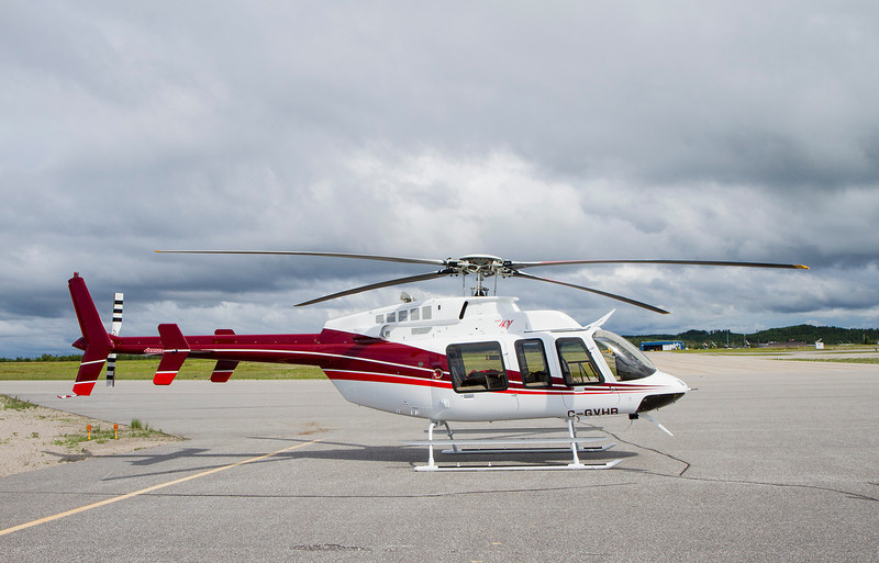 Photo taken June 19, 2012. This Bell 407 was manufactured in February of 2012. Here she is sitting waiting for the fuel truck.