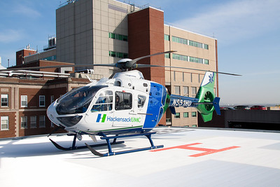 Hackensack University Medical Center NJ Medivac, designated AirMed One, 2006 Eurocopter EC135P2, powered by 2 turboshaft engines and based at Greenwood Lake Airport on the HUMC helipad.