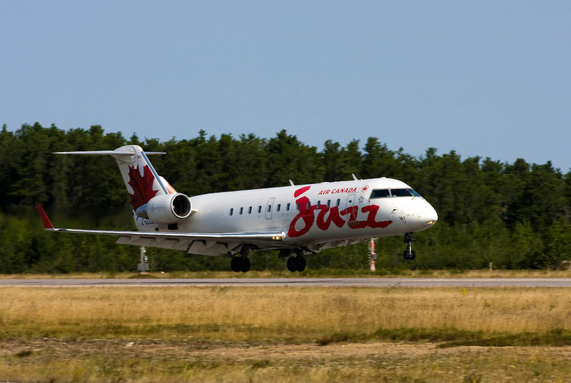 Jazz landing in Dryden to pick up MNR fire fighters in this CRJ-200.