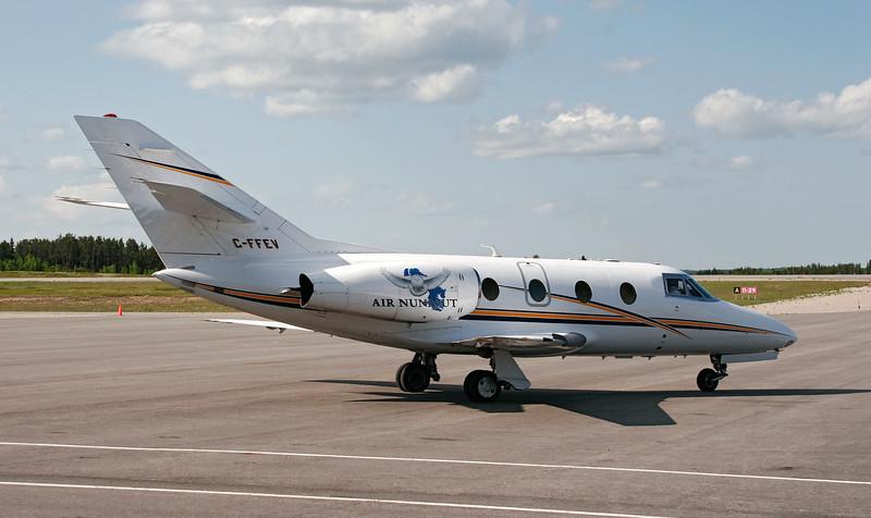 Air Nunavut landed in Dryden in this Dassault Falcon 10 as part of a medivac flight.