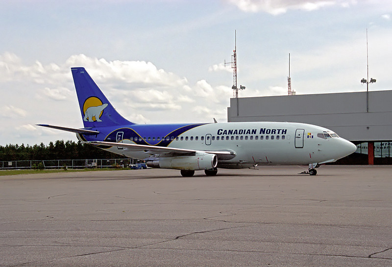Canadian North B737 sitting in front of the Dryden Terminal.