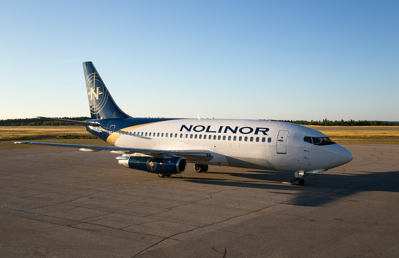 Nolinor's 737-200 C-GNLK coming to a stop on the Dryden ramp (CYHD), August 16, 2014 at 19:17 Local time.