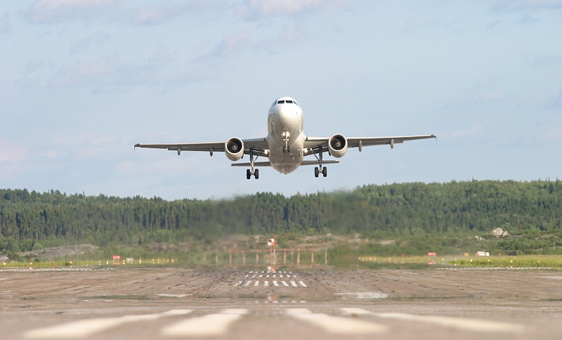 A Air Canada Airbus 319 takes off on runway 29 at the Dryden Airport.