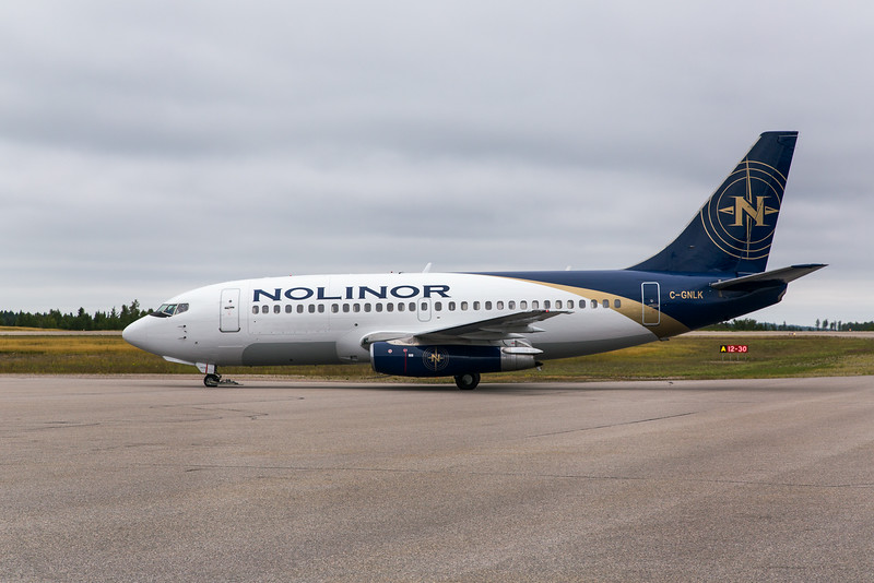 Nolinor's 737-200 C-GNLK on the Dryden ramp (CYHD), August 16, 2014 at 10:32 Local time.