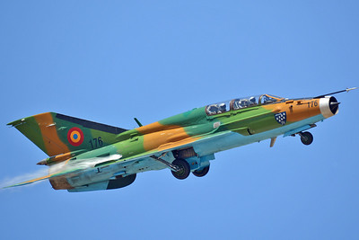 "Hungarian International Airshow & Military Display at Kecskemet AB (LHKE) on August 3, 2013. Romanian Air Force MiG-21UM (izdeliye 69) Lancer-B ""176"" (cn 516999176)."