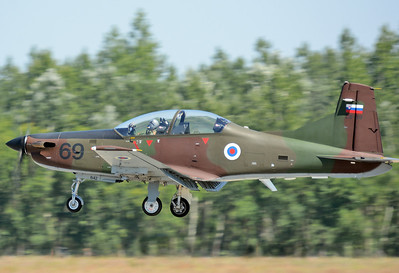 "Hungarian International Airshow & Military Display at Kecskemet AB (LHKE) on August 3, 2013. Slovenian Air Force and Air Defence Pilatus PC-9M Hudournik ""L9-69"" (cn 642)."