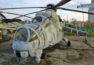 "Former National Air & space Museum at Khodynka Field in Mosow on August 18, 2009. Soviet Air Force Mil Mi-24V Hind-E ""60 White"" (cn 03035)."