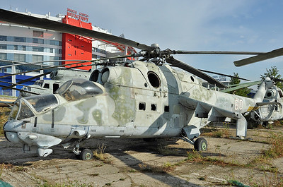 "Former National Air & Space Museum at Khodynka Field in Moscow on August 11, 2012. Soviet Air Force Mil Mi-24V Hind-E ""60 White"" (cn 03035)."