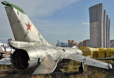 "Former National Air & Space Museum at Khodynka Field in Moscow on August 11, 2012. Soviet Air Force Sukhoi Su-7BKL Fitter-A ""07 Red"" (cn 5706). The construction number is also quoted as 5717."