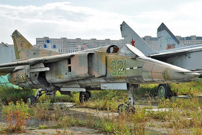 Former National Air & Space Museum at Khodynka Field in Moscow on August 11, 2012. MiG Design Bureau MiG-23B (izdeliye 32-24) Flogger-F (cn 0390217055).