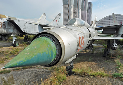 "Former National Air & Space Museum at Khodynka Field in Moscow on August 11, 2012. Soviet Air Force MiG-21PF Fishbed-D ""98 Red"" (cn N76212318)."
