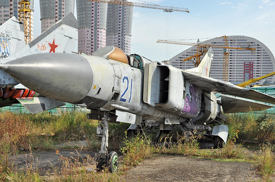 "Former National Air & Space Museum at Khodynka Field in Moscow on August 11, 2012. Soviet Air Force MiG-23M Flogger-B ""21 Blue"" (cn 0390206759)."