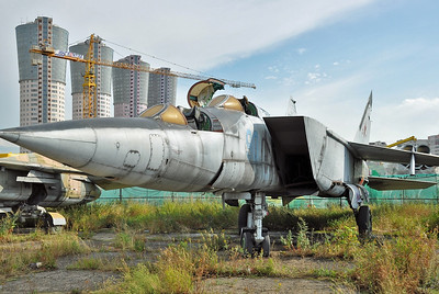 Former National Air & Space Museum at Khodynka Field in Moscow on August 11, 2012. Soviet Air Force MiG-25PU Foxbat-C (cn N22040418).