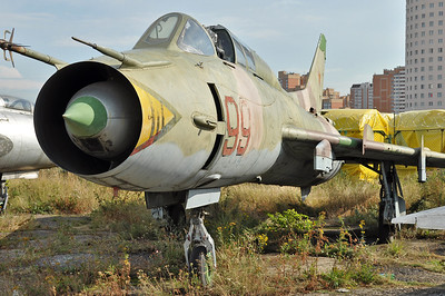 "Former National Air & Space Museum at Khodynka Field in Moscow on August 11, 2012. Soviet Air Force Sukhoi Su-17UM3 Fitter-G ""99 Red"" (cn 17532389606)."