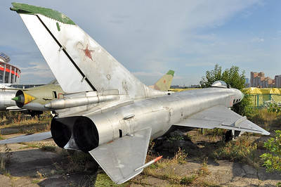 "Former National Air & Space Museum at Khodynka Field in Moscow on August 11, 2012. Soviet Air Force Sukhoi Su-15 Flagon-A ""42 Red"" (cn 0615342)."