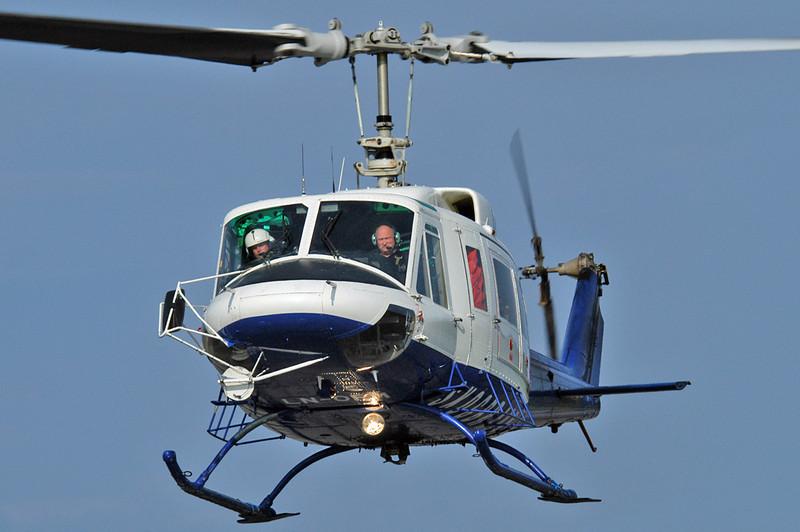 Kristiansand Airport Kjevik (KRS) on May 12, 2006. Helitrans Bell 214B-1 Biglifter LN-ORM (cn 28054).