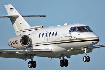 Kristiansand Airport Kjevik (KRS) on July 5, 2013. Saxonair Charter Hawker Beechcraft 900XP G-KLNE (HA-0186). Arriving in style!