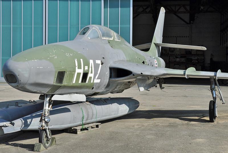 "Kristiansand Airport Kjevik (KRS) on July 5, 2013. Royal Norwegian Air Force RF-84F Thunderflash ""AZ-H"" (cn 51-17055/365)."