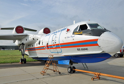 International Aviation and Space Salon MAKS-2013 at Zukovsky-Ramenskoye (UUBW) on August 30, 2013. MChS Rossii - Russia Ministry for Emergency Situations Beriev Be-200ChS Altair RF-32765 (cn 76820001301).
