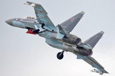 """International Aviation and Space Salon MAKS-2013 at Zhukovsky-Ramenskoye (UUBW) on August 30, 2013. Russian Air Force Sukhoi Su-35S Flanker-E """"07 Red"""" (cn 49083501206)."""