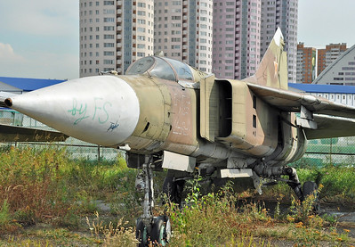"Former National Air & Space Museum at Khodynka Field in Moscow on August 11, 2012. Soviet Air Force MiG-23S Flogger-A ""25 Outline"" (cn 0615)."