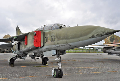 "Luftwaffenmuseum der Bundeswehr at the former airbase of Berlin-Gatow on September 15, 2012. Luftwaffe MiG-23UB Flogger-C ""20+63"" (cn A1037902). This is former East German Air Force ""105 Black""."