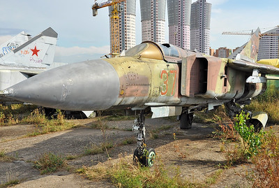 "Former National Air & Space Museum at Khodynka Field in Moscow on August 11, 2012. Soviet Air Force MiG-23MLD (aircraft 23-18) Flogger-K ""37 Red"" (cn 0390310645)."