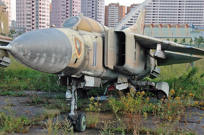 "Former National Air & Space Museum at Khodynka Field in Moscow on August 18, 2009. Soviet Air Force MiG-23M Flogger-B ""11 Blue"" (cn 0390209445)."