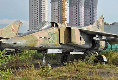 Former National Air &Space Museum at Khodynka Field in Moscow on August 12, 2012. MiG Design Bureau MiG-23B (izdeliye 32-24) Flogger-F (cn 0390217055).