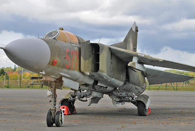 "Luftwaffenmuseum der Bundeswehr at the former airbase of Berlin-Gatow on September 15, 2012. East German Air Force MiG-23MF Flogger-B ""577 Red (cn 0390213299)."