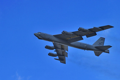 "B-52 Stratofortress ""Buff"" shortly after takeoff from Ellington Field, Texas"