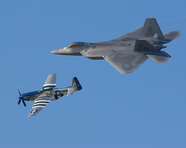 Heritage flight featuring the F-22 Raptor and a P-51 Mustang at Dobbins ARB 2008