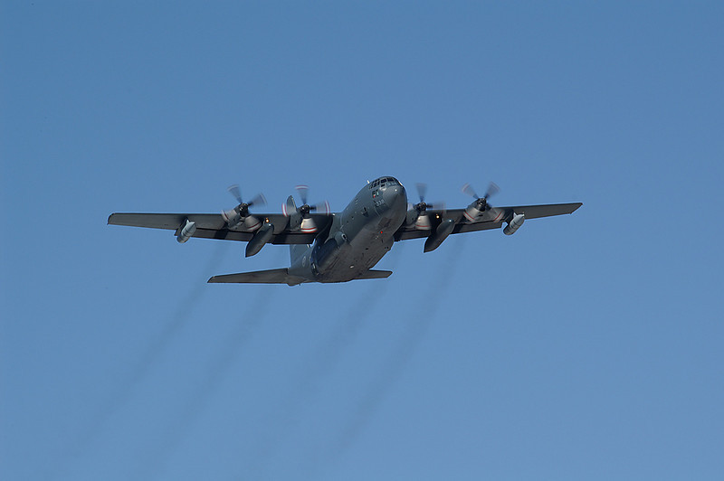 Canadian Armed Forces C-130 Herc. flying overhead at the Dryden Regional Airport.