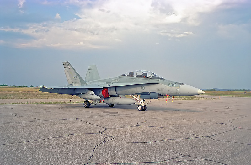 A side view of a McDonnell Douglas CF-188 Hornet (CF-18) as she sits on the ramp in Dryden.<br /> <br /> Negative scanned with a Nikon Coolscan IV ED.