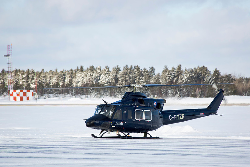 A Bell 412CF in Dryden.<br /> <br /> She was on the ground for a brief time. I had this photo uploaded before she left.