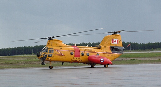 A Boeing Vertol CH-113A Voyageur.<br /> <br /> Recently out of service. Moved to RCAF Museum. This helicopter was the initial Voyageur SAR conversion. They have been replaced by the CH-149 Cormorant.