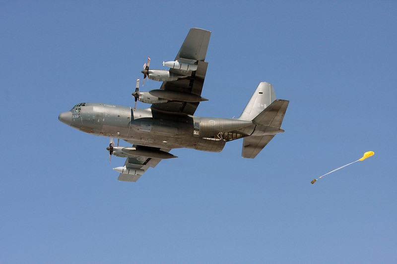 A Canadian Armed Forces C-130 Hercules doing some spring training flights in the Dryden area.