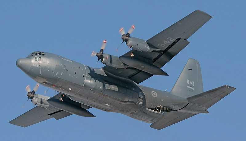'Atlas 42' (A Canadian Armed Forces C-130 Hercules) overhead the Dryden Regional Airport on a training flight.