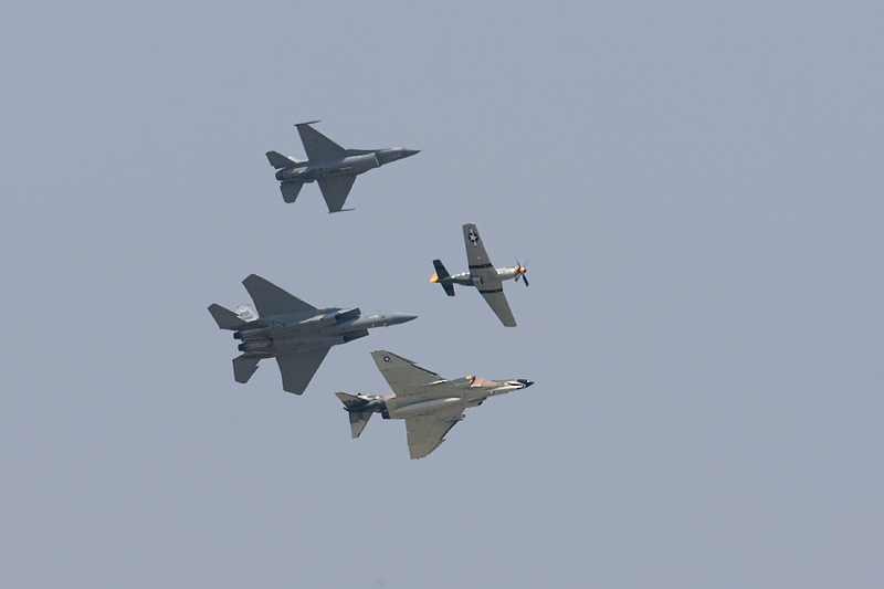 F-16 Fighting Falcon, P-51 Mustang, F-4 Phantom and F-15 Eagle