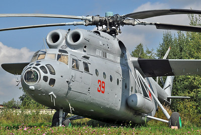 """Central Air Force Museum at Monino outside Moscow on September 2, 2013. Soviet Air Force Mil Mi-6VKP Hook-B """"39 Red"""" (cn 0454). This helicopter served as a command post."""