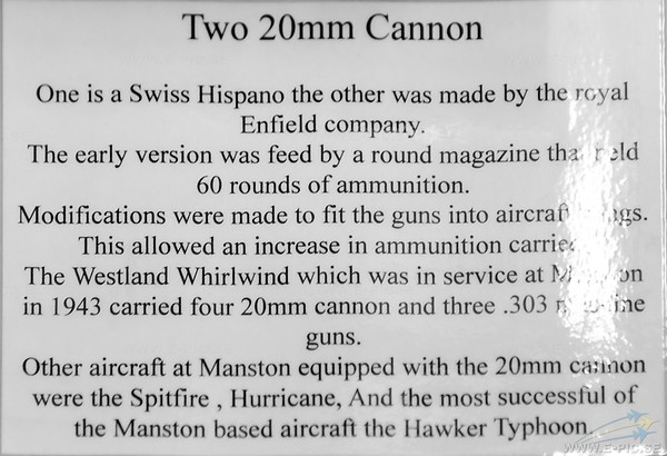 20mm Hispano-Suiza cannon and a Royal Enfield 20mm  cannon
