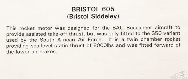 Bristol 605 rocket engine for assisted take of in Buccaneer (south africa)
