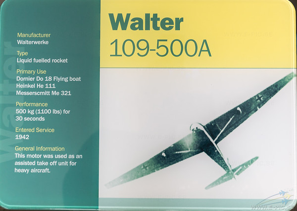 Walter 109-500A Rocket engine used for rocket assisted take off for heavy aircraft.