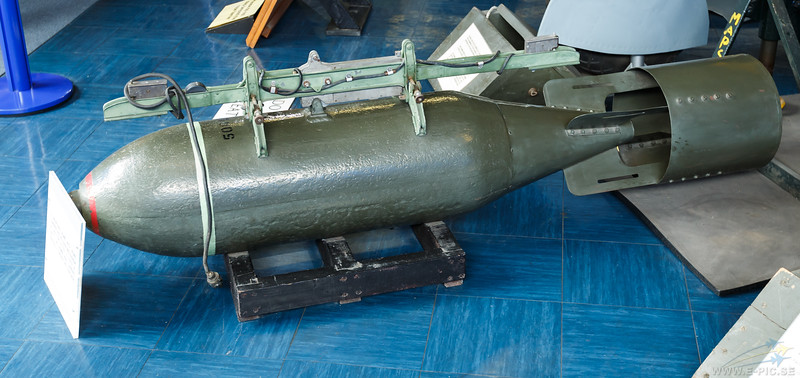 A 500-pound bomb with bomb carrier and releas mechanism of the type fitted to Spitfire TB753 in 1945. The 500-pound bomb was carried centrally under the fuselage.